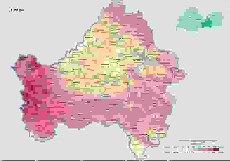Брянская область по Цезию в 1986 г