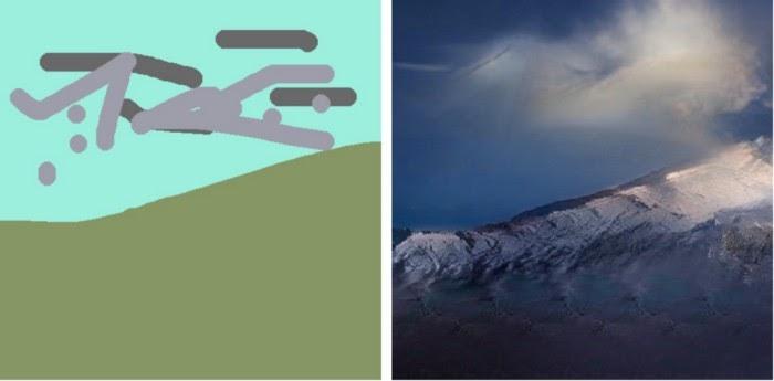Рисунок 3. Результаты сгенерированные GaoGAN. Слева - исходный рисунок, справа - сгенерированный результат. Изображение создано автором.