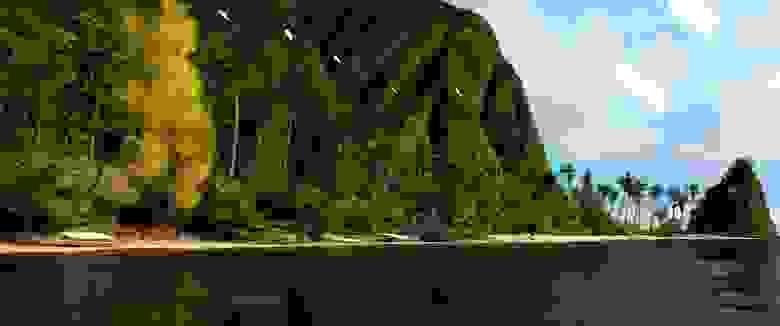 Остров из «Моаны» (2048 × 858 пикселей, 64 spp), отрендеренный при помощи Gonzales в хранилище Google Cloud с 8 виртуальными ЦП и 64 ГБ памяти примерно за 26 часов. В памяти он занимает около 60 ГБ. Шумоподавление при помощи OpenImageDenoise.