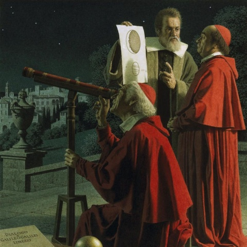 Галилео Галилей показывает кардиналам Луну