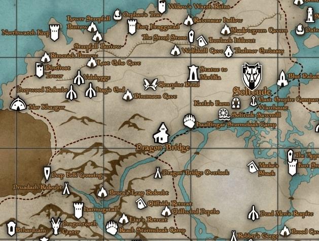 На карте игрового мира Skyrim видны зоны, куда новичку лучше не заходить