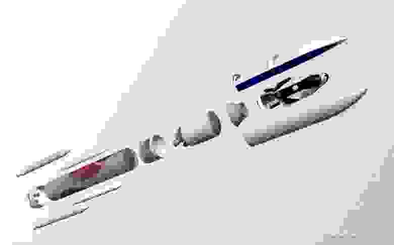 Схематичное изображение РН Vulcan с грузовым Dream Chaser в обтекателе. Источник: SNC