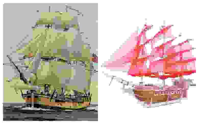 Слева: Его Величества Корабль «Индевор». Справа: 3D-пазл Lemmo Корабль «Пегас»