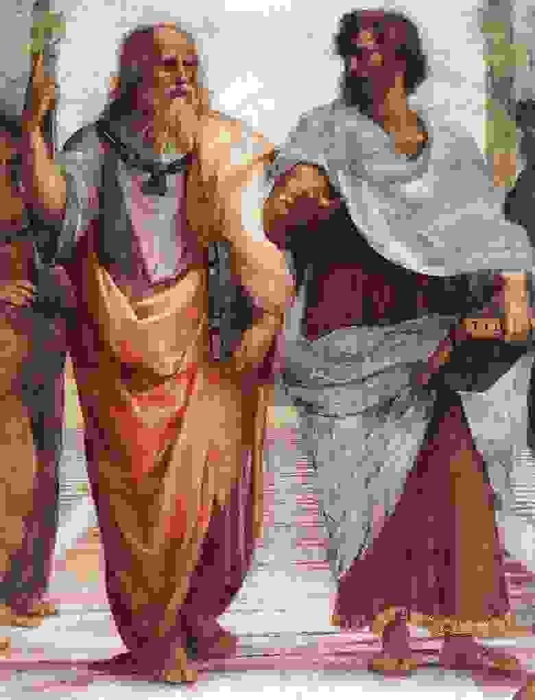 Фреска «Афинская школа» Рафаэля. Фрагмент с Платоном и Аристотелем