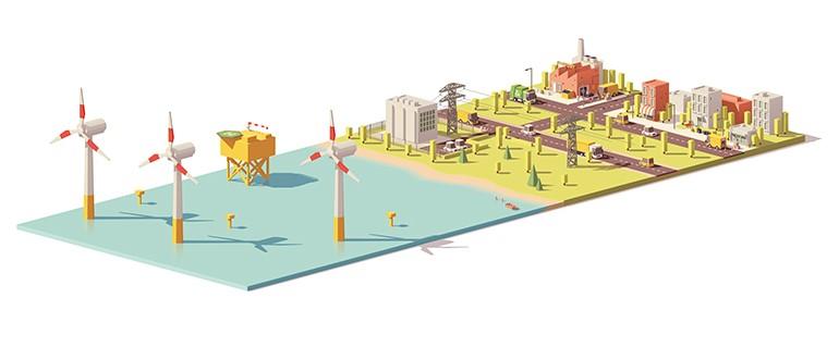 Морская ветряная электростанция и преобразовательная подстанция HVDC