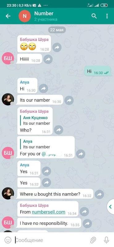 Скриншот диалога с зарегистрированным в Telegram номером телефона. На том конце сообщают, что номер куплен на сайте numbersell.com
