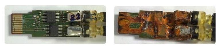 Печатная плата с покрытием после коррозионных испытаний (слева) и печатная плата без покрытия после коррозионных испытаний (справа)