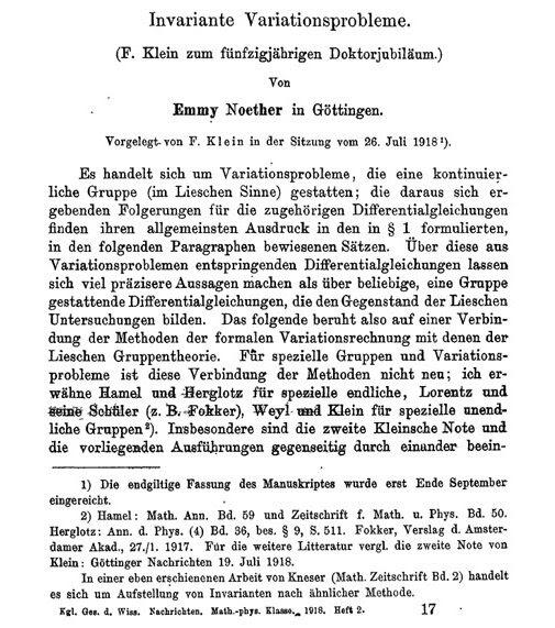 Первая страница прорывной работы Нётер.