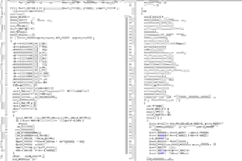 Сравнение кода в двух экземплярах разной структуры