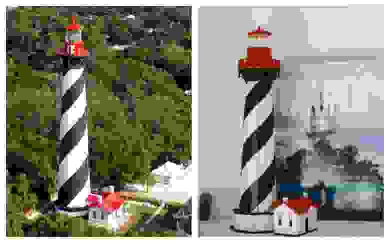 Слева: маяк Сент-Огастин во Флориде. Справа: 3D-пазл «Сент-Огастин»