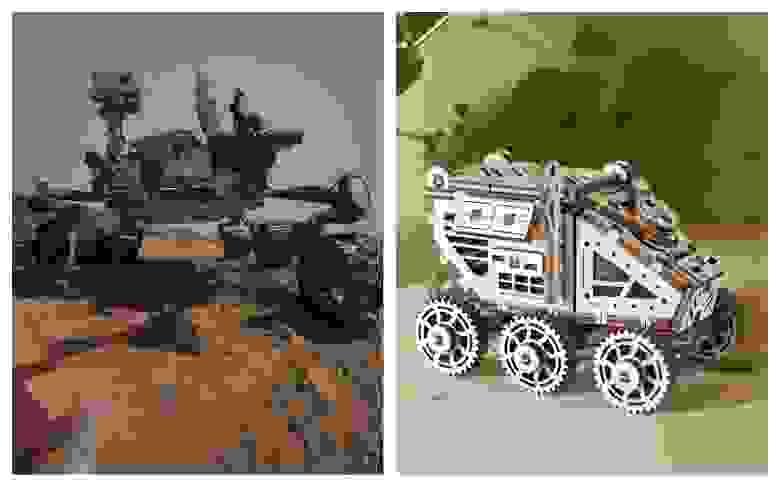 Слева: марсоход Curiosity. Справа: Ugears Марсобагги