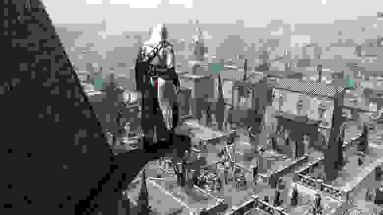 Сеттинг Assassin's Creed можно рассматривать как деконструкцию самого понятия «сеттинг» — будущее и прошлое тесно связаны друг с другом, но при этом не смешиваются во что-то иное. Это отличный способ привлечь сразу две аудитории — любителей исторических игр и поклонников научной фантастики