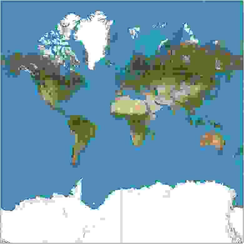 Карта, использующая проекцию Меркатора.