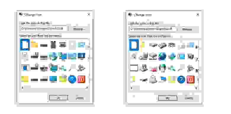 Новые иконки (слева) и старые (справа)