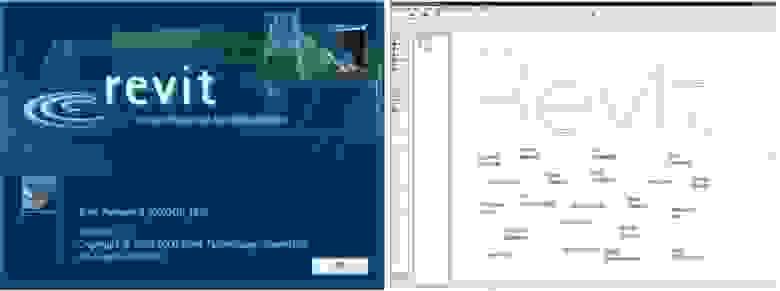 Program interface Revit 2000. Справа можно найти много русских фамилий