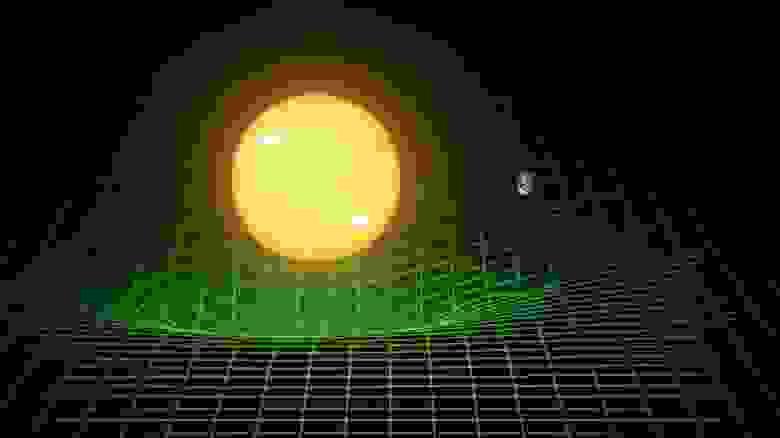 Гравитационное движение Земли вокруг Солнца не связано с невидимым гравитационным притяжением, но лучше описывается свободным падением Земли в искривлённом пространстве, большая часть кривизны которого порождается Солнцем. Кратчайшее расстояние между двумя точками — не прямая линия, а геодезическая: кривая линия, которая определяется гравитационной деформацией пространства-времени. Проходя через такое искривлённое пространство, Земля испускает гравитационные волны (LIGO/T. PYLE)