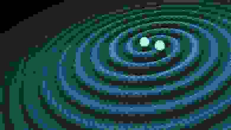 Рябь пространства-времени, порождаемая орбитальными массами, возникает независимо от конечного продукта слияния. Однако большая часть высвобождаемой энергии исходит только на нескольких последних орбитальных витках и во время фактического слияния двух масс, которые проходят стадии вращения по спирали и слияния (Р. ХАРТ — CALTECH/JPL)