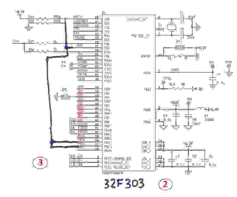 Fig.4. Microcontroller change and ADC pads connection.