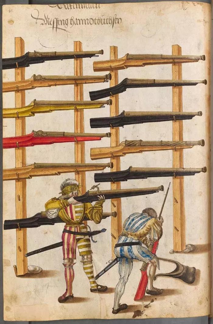 Примерно такие стрелки встречали атаку швейцарцев при Бикокке, иллюстрация приводится по арсенальной книге Императора Максимилиана