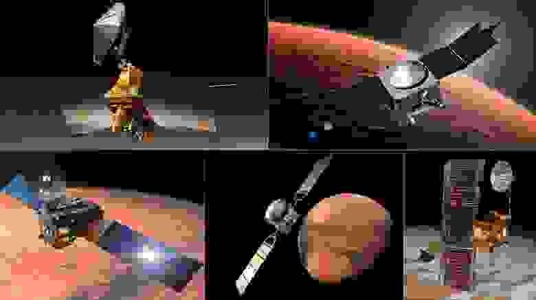 Пять аппаратов на орбите Красной планеты, которые составляют ретрансляционную сеть: MRO, MAVEN, «Одиссей», Mars Express и Trace Gas Европейского космического агентства.