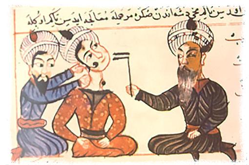 Абу-ль-Касим аз-Захрави (справа) целится в опухоль на шее пациента.
