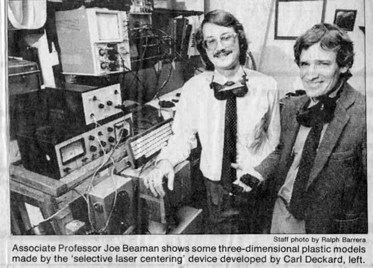 Карл Декард и Джо Биман (справа), изобретатели SLS 3D-печати (1987 г.)