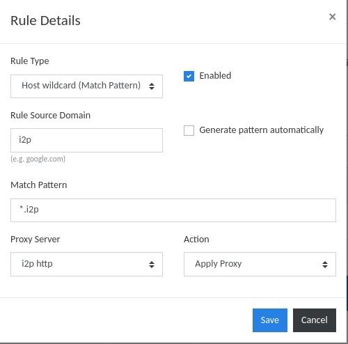 Создаём правила проксирования для i2p-сайтов