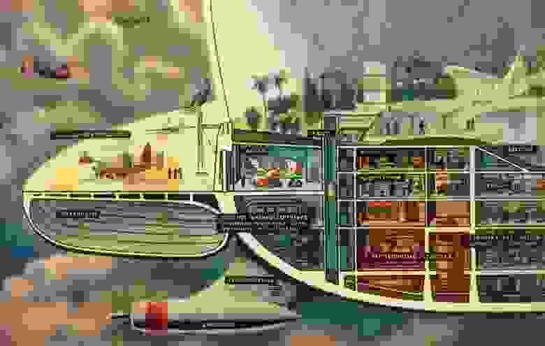 """Венерианский аэростат. Иллюстрация в журнале """"Техника - молодежи"""""""