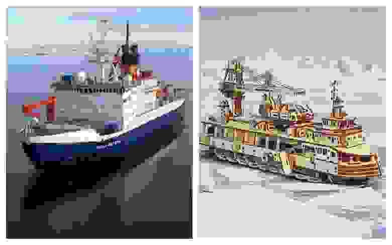 Слева: ледокол «Поларштерн». Справа: Научно-исследовательское судно UGears
