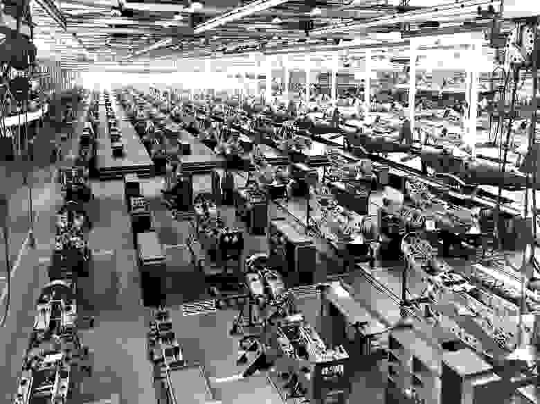 Производственная линия Bell Aircraft в Нью-Йорке / Wikipedia.org