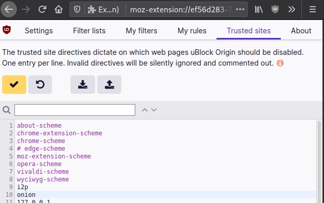 Добавляем в uBlock Origin исключения для доменов i2p и onion