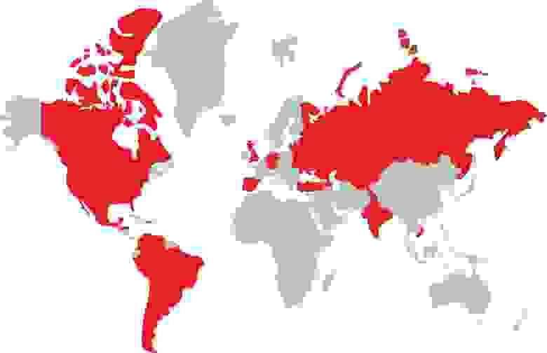 Красным выделены регионы, на которые продвигали проект: страны СНГ, Северной и Латинской Америки, Испания, Португалия, Германия, Турция, Вьетнам, Великобритания, Сингапур и Индия.