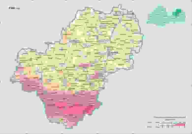 Цезий Калужской области в 1986