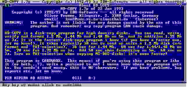 "HD-Copy версия 1.7р. Экран ""О программе"""