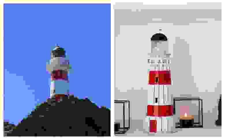 Слева: новозеландский маяк Паллизер. Справа: 3D-пазл «Маяк Паллизер»