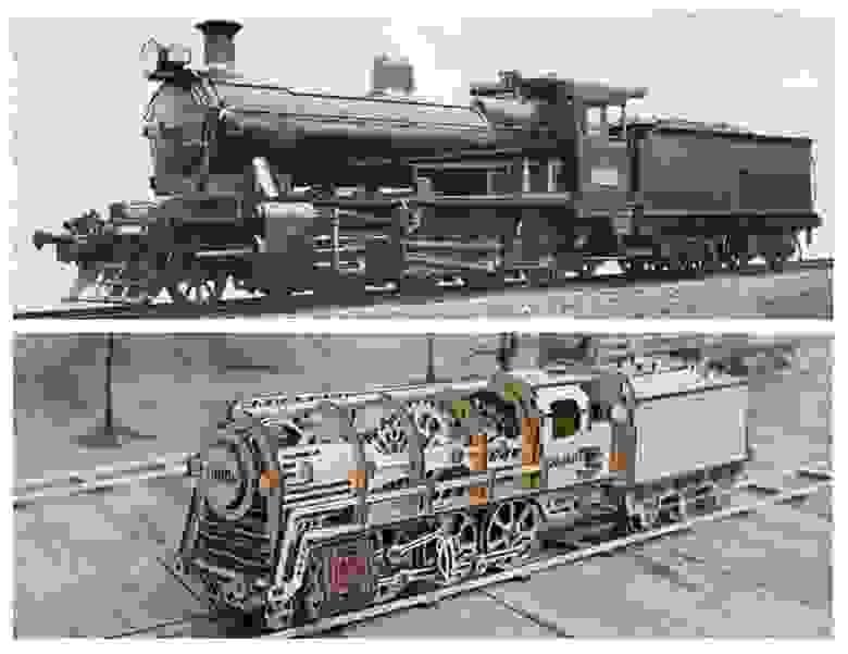 Сверху: викторианский локомотив. Снизу: 3D-пазл UGears «Локомотив»