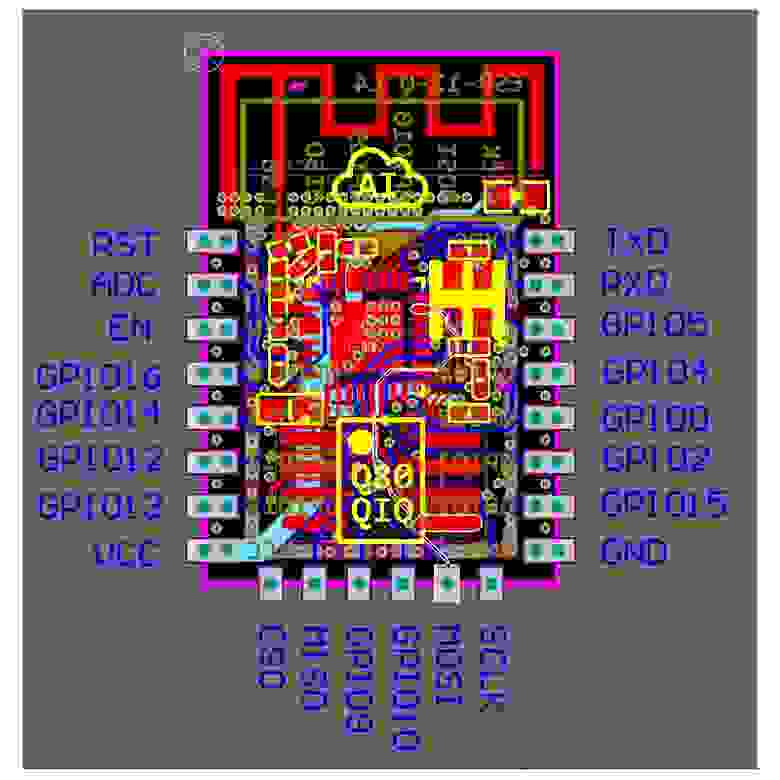 распиновка и внутреннее устройство esp12F