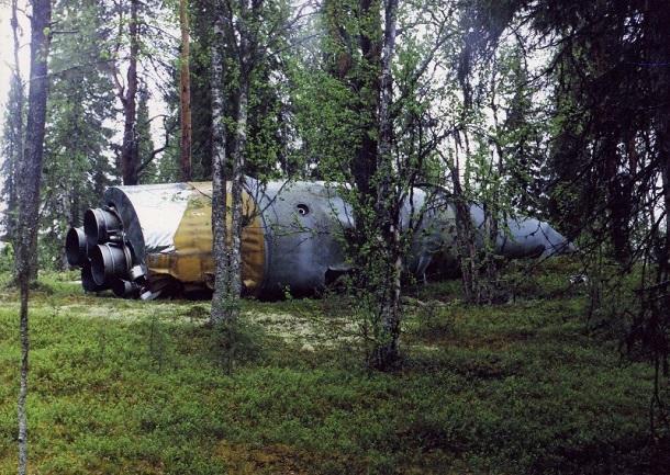 Упавшая первая ступень (боковой блок) РН «Союз», фото ЦЭНКИ