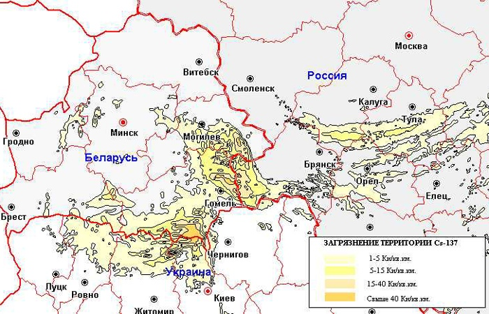 Загрязнение Цезием-137. Обратите внимание на участок между Гомелем и Могилёвым