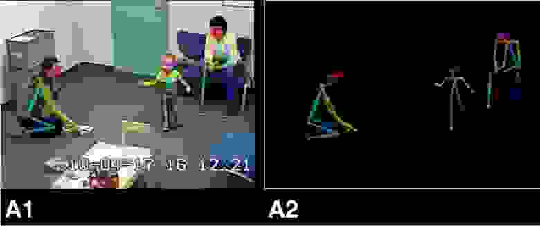 (А1) Ключевые точки OpenPose наложены на видеозапись из оценки ADOS. (A2) Каркас, нанесённый на нулевой фон