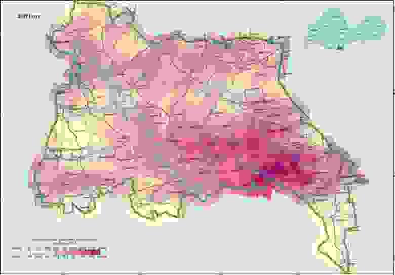 Загрязнение ПГРЭЗ цезием-137 на 2009 год
