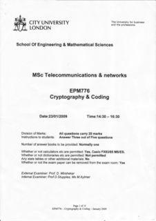 Бланк заданий Cryptography & Coding 2009