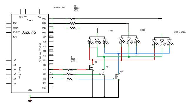 Схема включения светодиодов