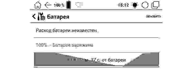 График расхода и последующего заряда аккумулятора на ONYX BOOX Livinstone