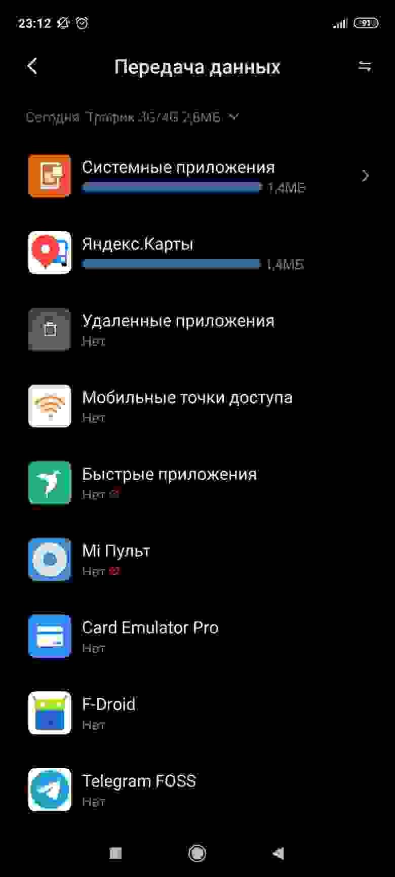 Скриншот потребления сети Андроид, где системные приложения и яндекс карты скушали по 1.4мб трафика