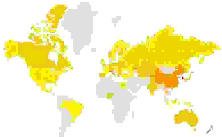 Аналогичная тепловая карта по миру относительно русскоязычных запросов