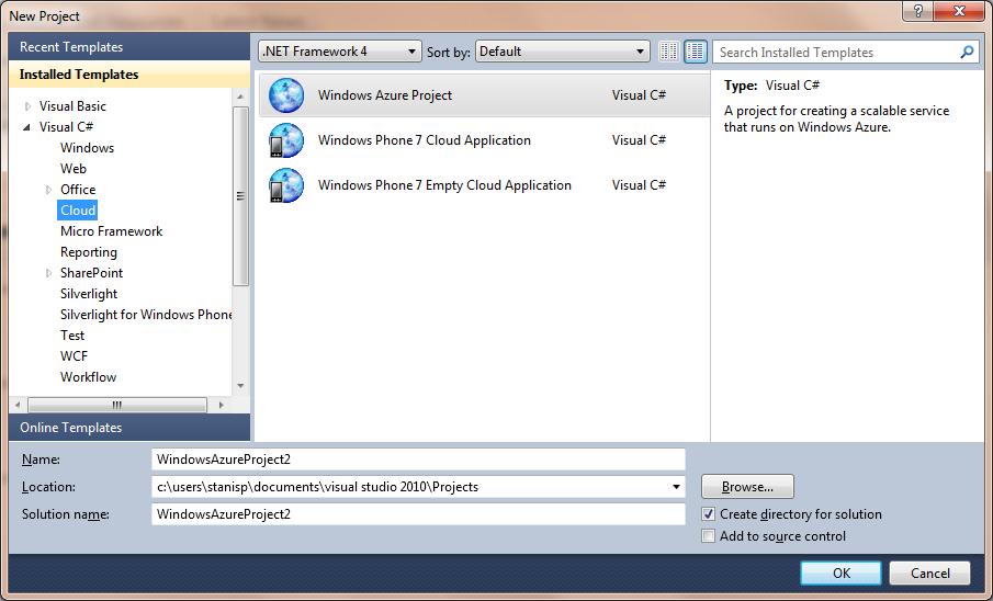 Шаблоны Windows Azure Toolkit for Windows Phone 7