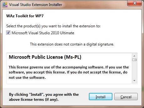 Установка шаблонов Visual Studio 2010 из Windows Azure Toolkit for Windows Phone 7