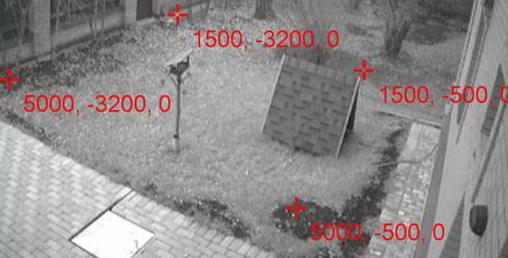 Калибровка камеры: четыре точки на кадре привязываются карте, то есть для них задается глобальные координаты