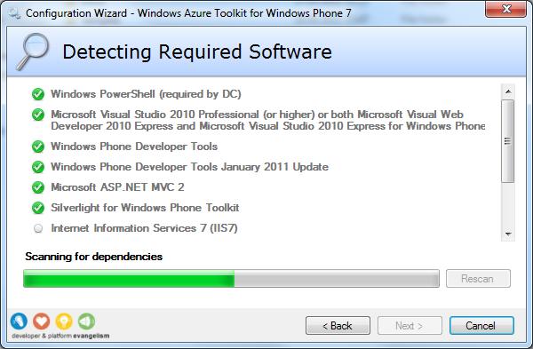 Утилита проверки зависимостей Windows Azure Toolkit for Windows Phone 7